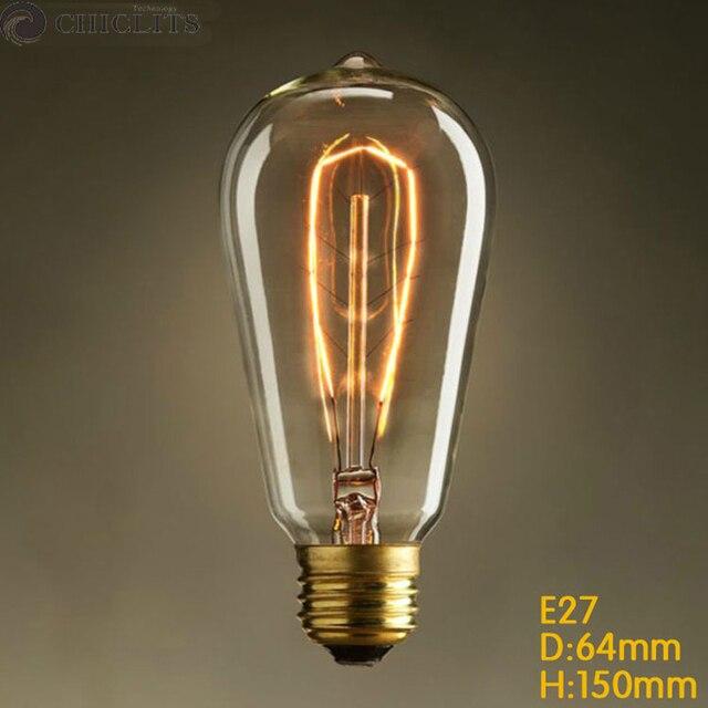 Ampoule Edison Bulb E27 40W 220V Vintage Edison Filament Bulb Lighting ST64  Warm Yellow Incandescent Bombillos