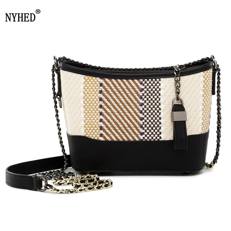 NYHED 2018 Summer Style knitting Bucket Handbags Fashion Women Crossbody Bag Chains Shoulder Bags