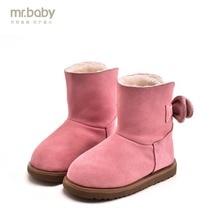 Mr. ребенок оригинальная детская обувь зимние новые С симпатичным бантом для девочек зимние сапоги теплые сапоги