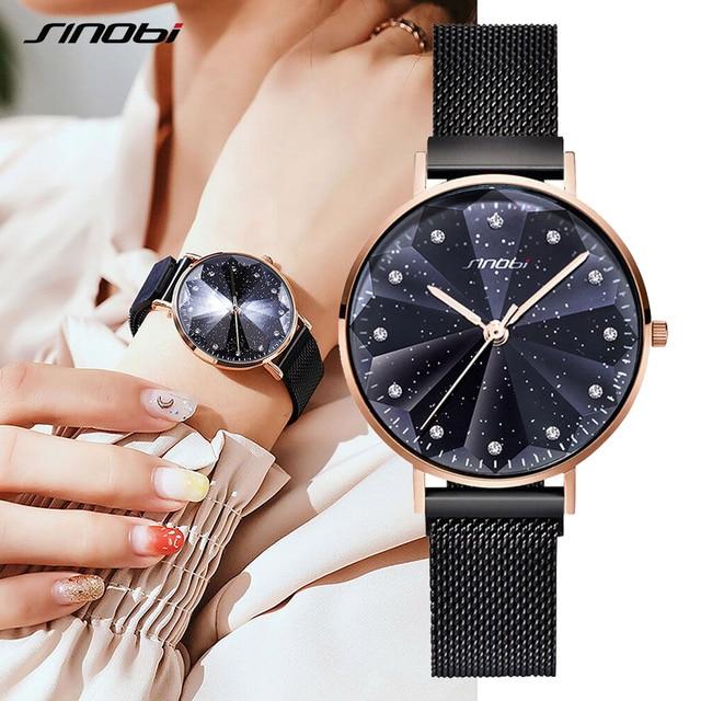 SINOBI Новая мода 3D печатных звездное небо для женщин часы 2019 роскошные золотые для женщин браслет кварцевые Магнит пряжка наручные часы