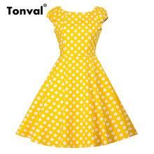 فستان أصفر عتيق من Tonval بأكمام قصيرة للنساء لصيف 2020 فساتين كلاسيكية من القطن بولكا دوت روكابيلي