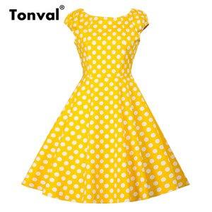 Image 1 - فستان أصفر عتيق من Tonval بأكمام قصيرة للنساء لصيف 2020 فساتين كلاسيكية من القطن بولكا دوت روكابيلي