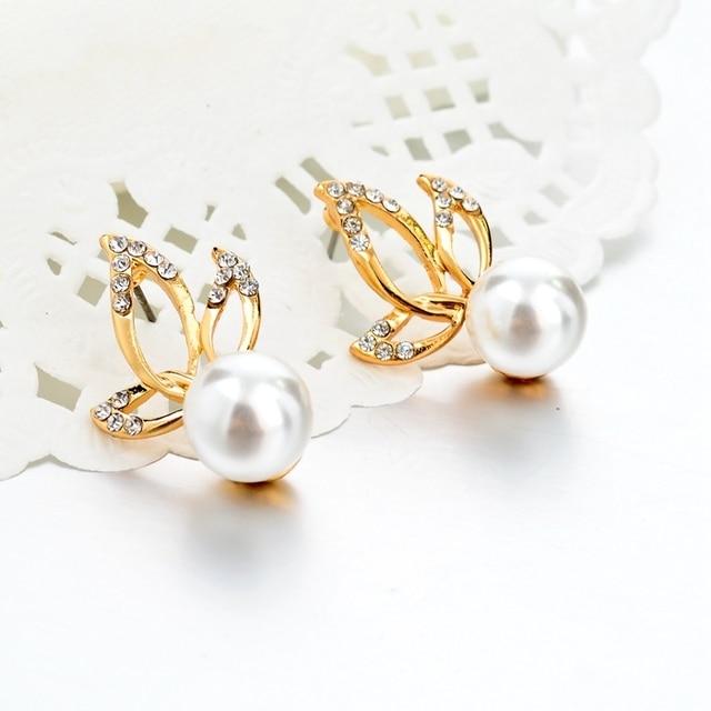 Chicvie золотые Двухсторонние серьги гвоздики с имитацией жемчуга