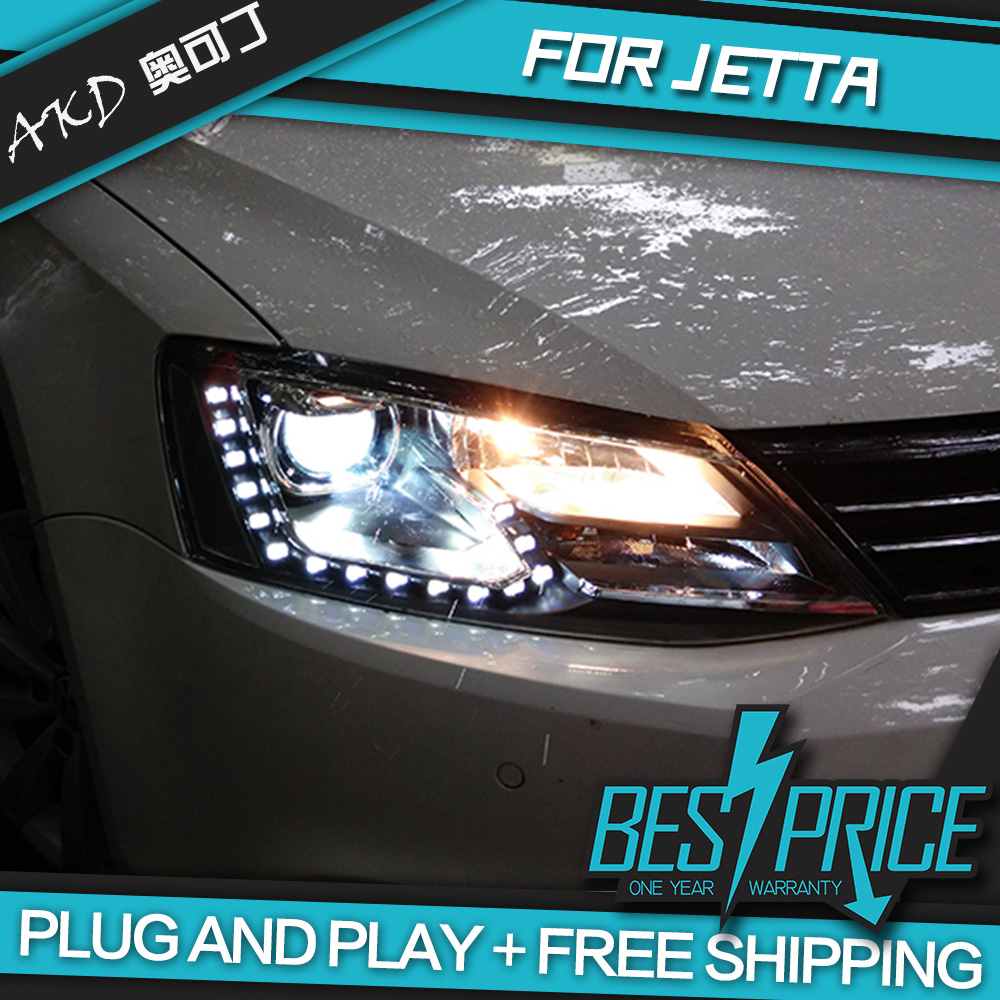 Akd car styling head lamp for vw jetta mk6 headlights led headlight tear eyes drl bi