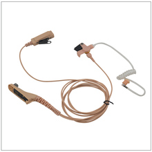 Walkie Talkie Earpiece 2-Wire Beige Surveillance kit with translucent Tube for Mototrbo APX7000,XPR6500,XIR P8200,MTP6550,DP4800
