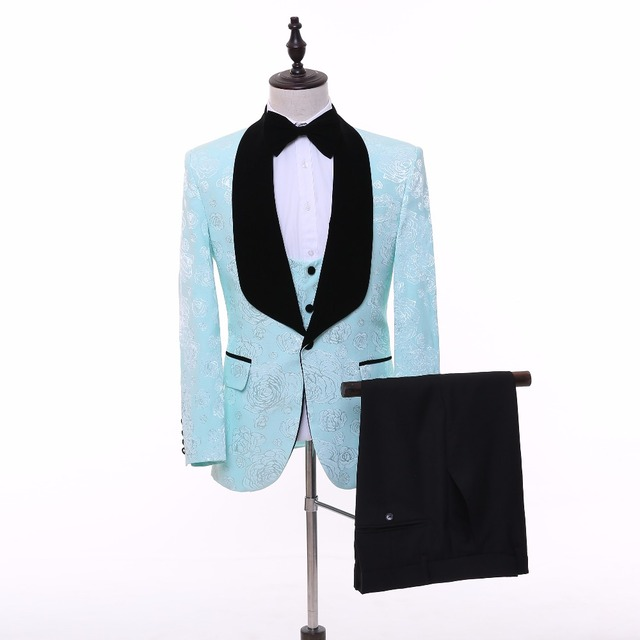 Brand New 2 Colors Shawl Lapel Groom Tuxedos Pink/Mint Green Wedding ...