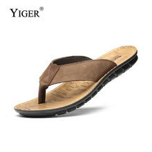 YIGER NEW Men Flip Flops Casual Shoes Genuine Leather Slippers Summer Fashion Handmade Beach  0035
