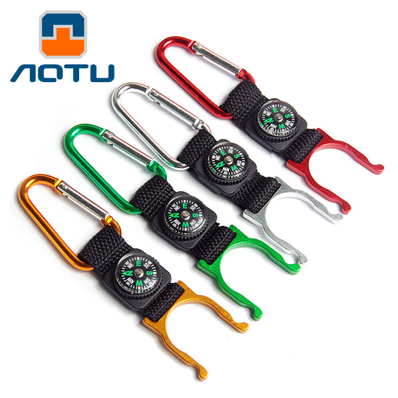 Multifunctional EDC tools Travling Compass Outdoor Camping Carabiner Water Bottle Key Chain Clip Holder Mountaineering Buckles