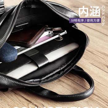 2020 New Natural Cowskin 100% Genuine Leather Men\'s Briefcase Fashion Large Capacity Business bag Black Male Shoulder Laptop Bag