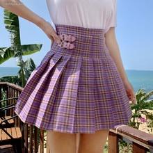Purple Preppy Style Mini Pleated Skirt Women 2019 Summer Cas