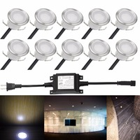 10pcs Set Warm White 3000K Waterproof In Deck LED Lighting For Outdoor Step Patio Plinth Yard