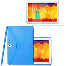 1x Screen Protector , X Line Soft Silicon Rubber TPU Gel Shell Cover Case For Samsung Galaxy Note 10.1 2014 Edition P600 P601