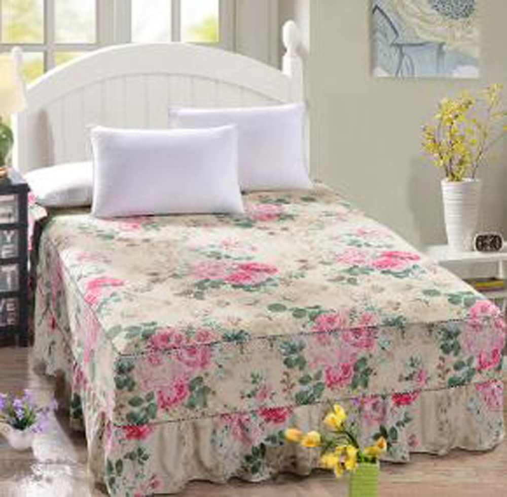 Floral Polyester Bed Skirt Mattress Cover Petticoat Full