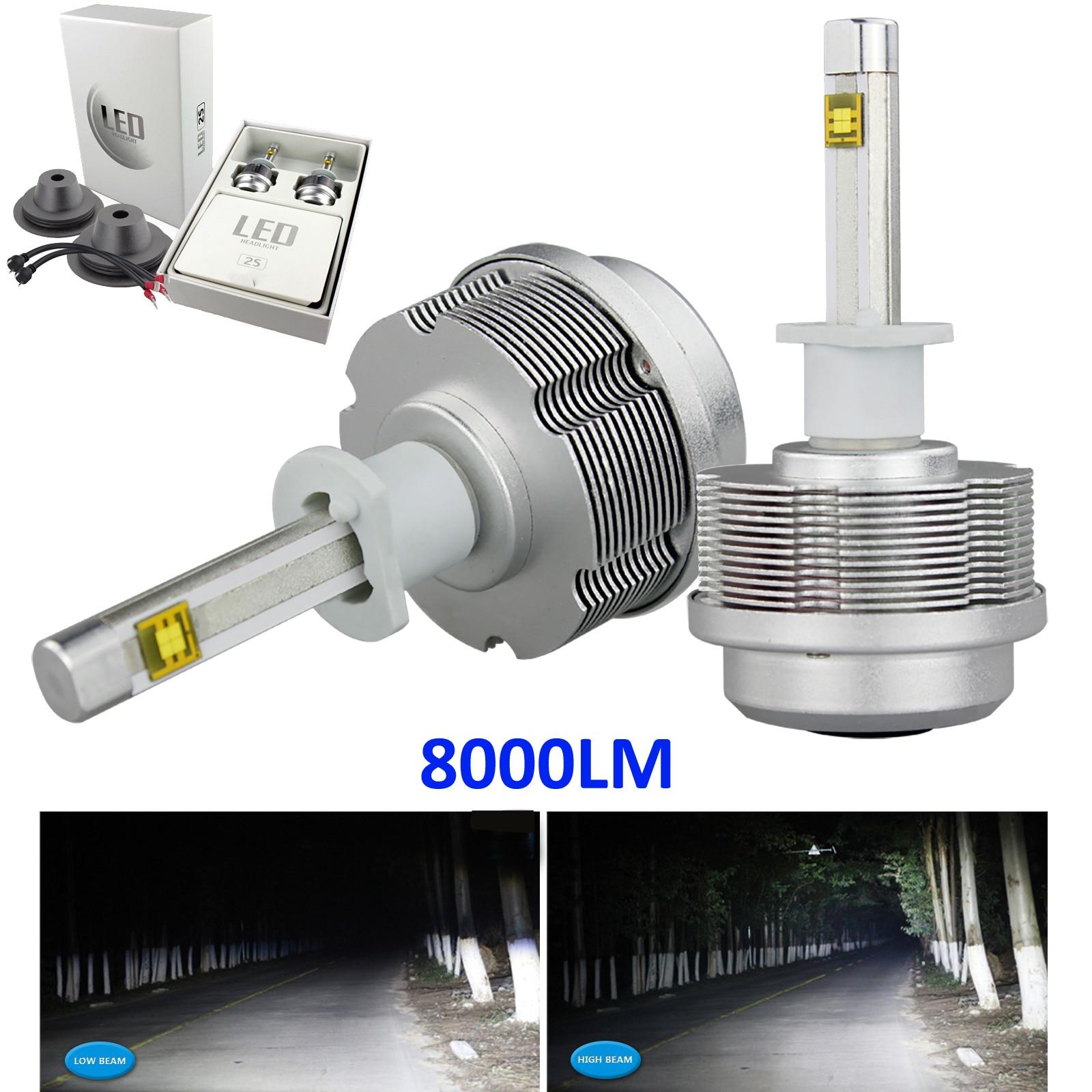 ФОТО 1pair Car H1 60W ETI 2S Car LED Headlight Kit 8000LM HID 6000K White High or Low Beam Bulbs