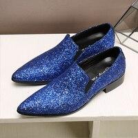 Мужская Клубная одежда платье с блестками обувь заостренная носком Формальные из натуральной кожи плюс Размеры C33
