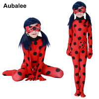 2017 Kids Miraculous Ladybug Cosplay Costumes With Mask Cute Girls Ladybug Miraculous Party Jumpsuit Halloween Children