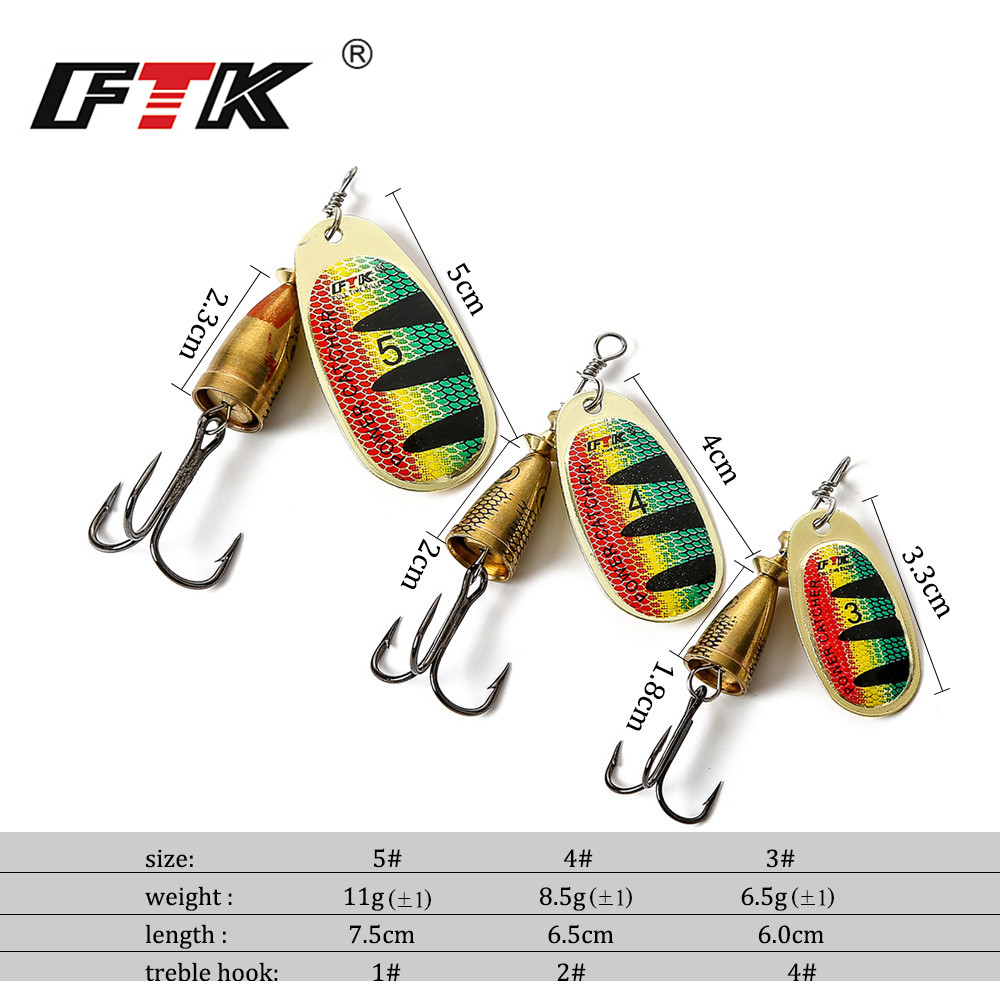 FTK Metal Fishing Lure 1Pce Size 3#/4#/5# Spoon Lure Spinner Bait Fishing Tackle Hard Bait Mepps Spinner Bait Isca Artificial