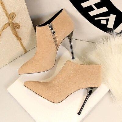 2018 Новая мода Простой стилет Супер Высокий каблук женские ботинки остроносые замшевые пикантные Клубные был тонкий и ботильоны