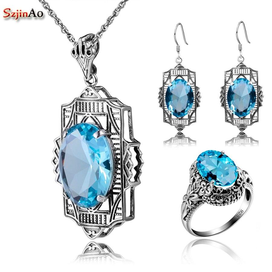 Szjinao 925 ensemble en argent Sterling aigue-marine accessoires mariée ensemble de bijoux robes pour femmes boucles d'oreilles/pendentif/bague