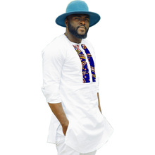 African mens tops traditional dashiki clothes africa print white cotton fabric patchwork shirt male african fashion