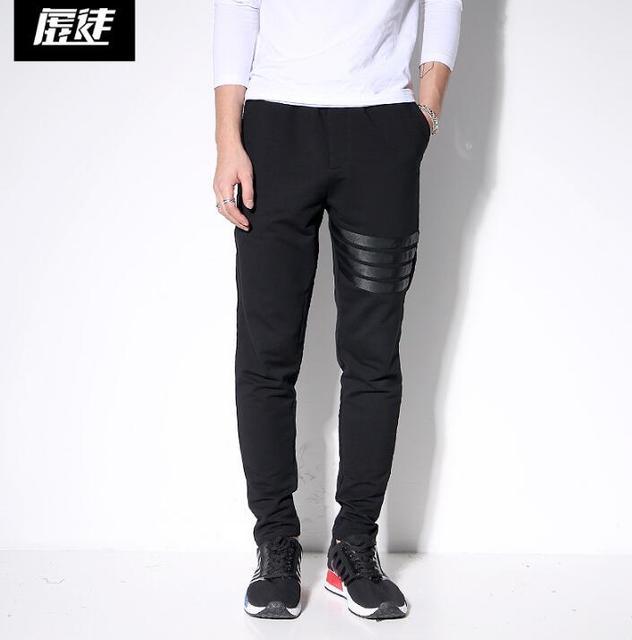 Projeto Original casual personalidade inverno calças do punk calças pés dos homens calças harem pants dos homens calças skinny colapso solto preto