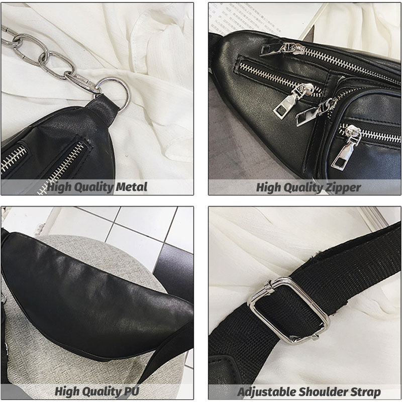 Tonny Kizz laser black waist packs PU leather women fanny pack fashion female belt bag heuptas leopard chest bag riñonera 2019 in Waist Packs from Luggage Bags