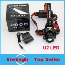 30/ Hiking Camping Headlamp Bicycle light CREE U2 LED 3 Mode Waterproof cap light Zoomable headlight + 2×18650 battery + Charger
