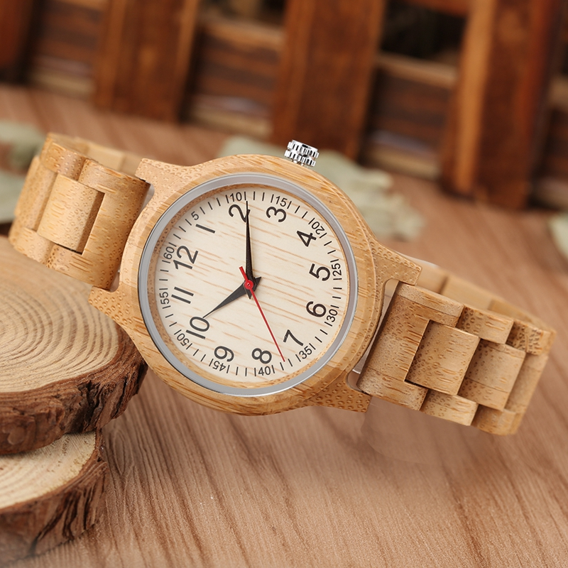 Image 5 - Women Wood Watch Natural All Bamboo Wood Clock Watches Top Brand Luxury Quartz Ladies Dress Watch Wooden Bangle as Best GiftsWomens Watches   -