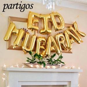 Image 4 - Eid Mubarak Rose Gold Brief Ballon Goud Folie Ballonnen Voor Moslim Islamitische Partij Decoraties Eid Al Firt Ramadan Party levert