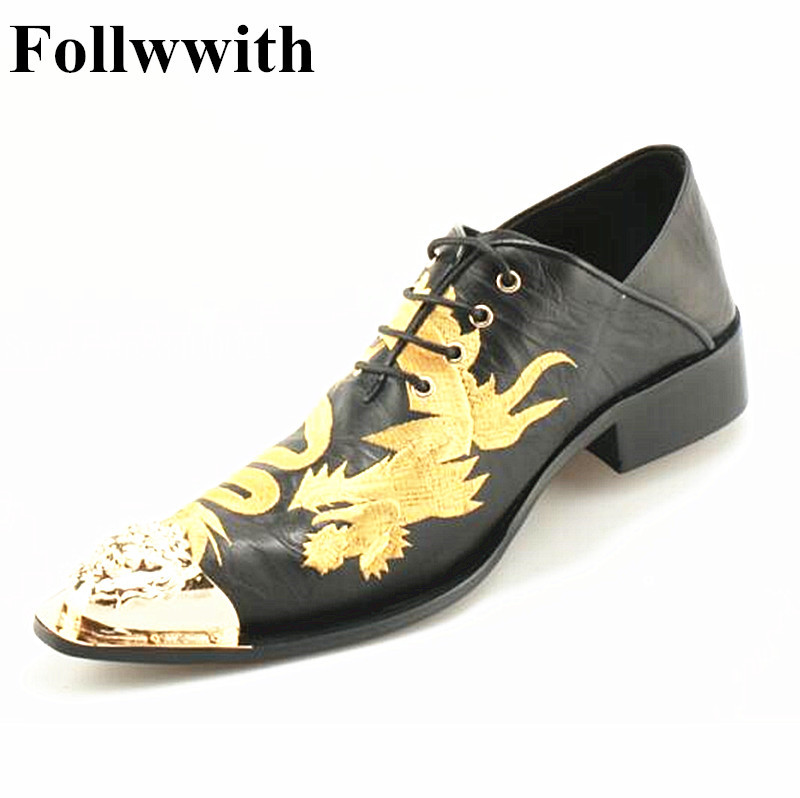 2018 Follwwith Brand Gold Dragon Totem Embroidery Fashion Metal Pointed Toe Lace Up Men Casual Shoes Flats Sapatos Low Top Shoes gold sexy gold thread embroidery hollow out lace crop top