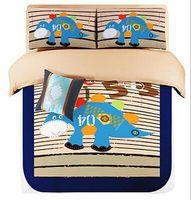 Cartoon Dinosaur Bedding Set Queen Twin Single Double Geometric Blue Grey Comforter Quilts Duvet Cover Kids