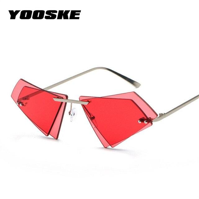 b742062a05371 YOOSKE sin montura de ojo de gato gafas de sol de las mujeres pequeño  triángulo gafas