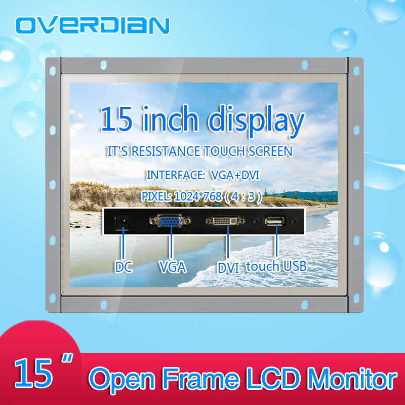 все цены на 15Inch Industrial Control Lcd Monitor VGA/Touch USB/DVI Screen Interface Open Frame Resistance Touch Screen Metal Shell 1024*768