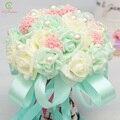 SSYFashion Buque De Noiva Romántica Celebración de Flores Rosa con Perlas Birdal Ramo Ramos de Novia para Las Damas de Honor de la Muchacha de Flor