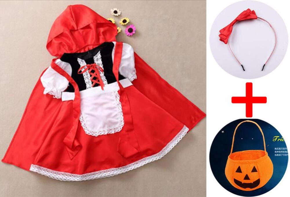 2019 Little Red Riding Hood Costume For Girls Children Kids Fantasia Halloween Party Cosplay Fancy Dress+Cloak Cosplay Costume