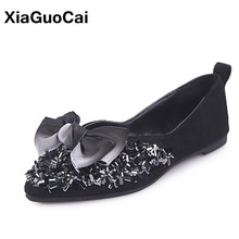 Women Shoes Bowknot Pointed Toe Female Flats Shallow Ladies Loafers Spring Autumn Comfortable Fashion Woman Casual Footwear недорого
