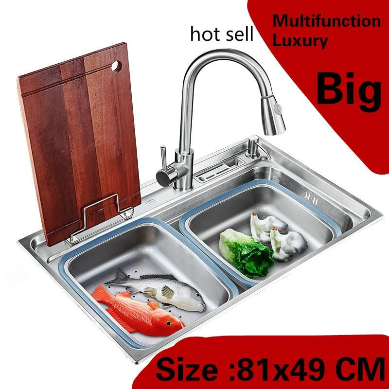 Livraison gratuite appartement cuisine unique auge évier robinet extensible 304 en acier inoxydable faire la vaisselle vente chaude grand 810x490 MM