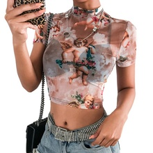 Angel Print Mesh Sexy T Shirt Crop Top High Neck Short Sleeve Graphic Tees Women Streetwear Harajuku Shirts 2019 Hot Sale