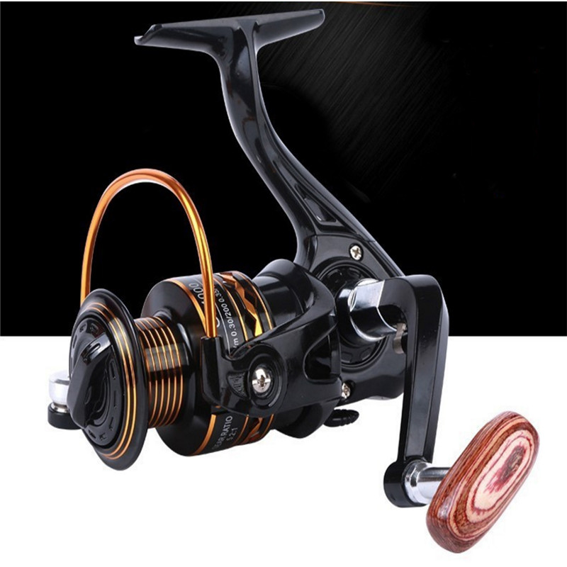 2000-7000 Series Fishing Reel All Metal Spool Spinning Reel Wooden handshake 12BB Spool Saltwater Fishing Accessories(China)