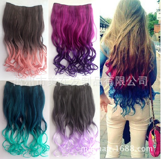 A Type Of Gradient Color Hair Extensions Color Five Card Long Curly