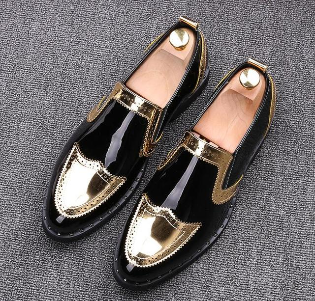 Men's Shoes Luxury Brand gold Genuine Leather Casual Driving Oxfords Flats Shoes Mens Loafers Moccasins Italian Shoes for Men