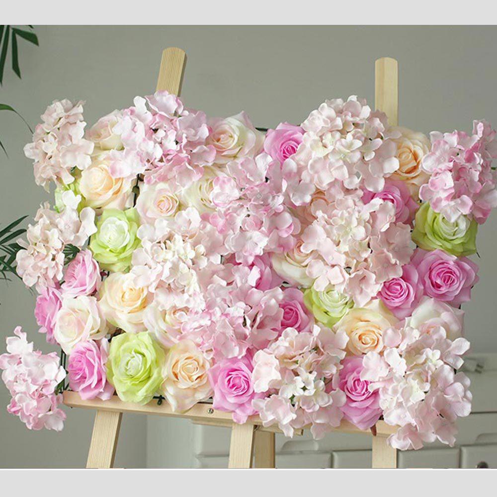 Mur d'hortensia Rose couture aléatoire sur mesure arrangement de fleurs de Simulation de mariage européen