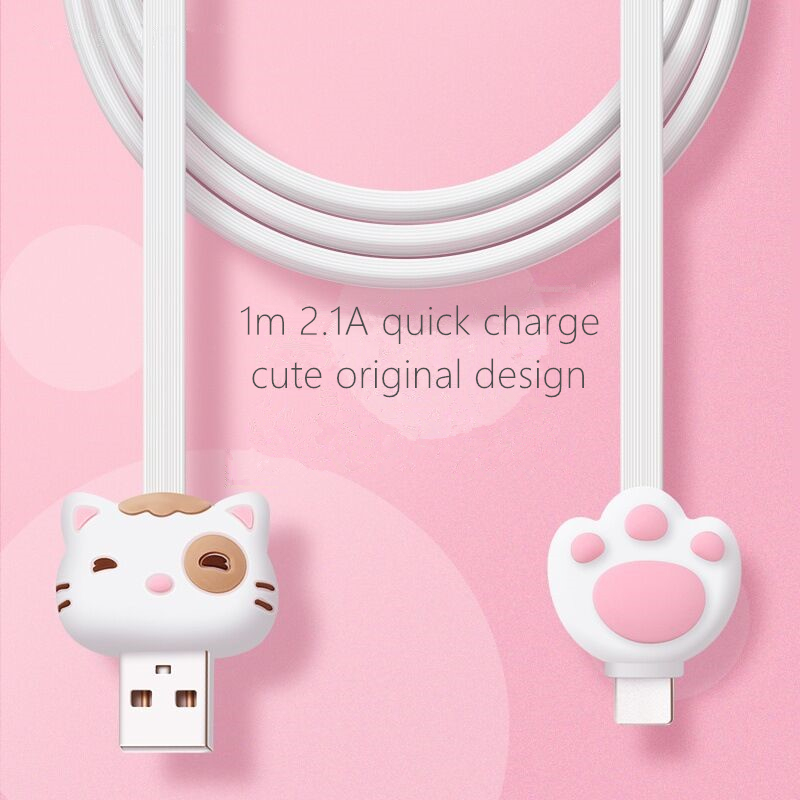 Cat Cartoon Type C 1m,2.1A Fast Charger Data Transfer Cable,usb-c Pink Cute Data Wire,high Quality,original Design,