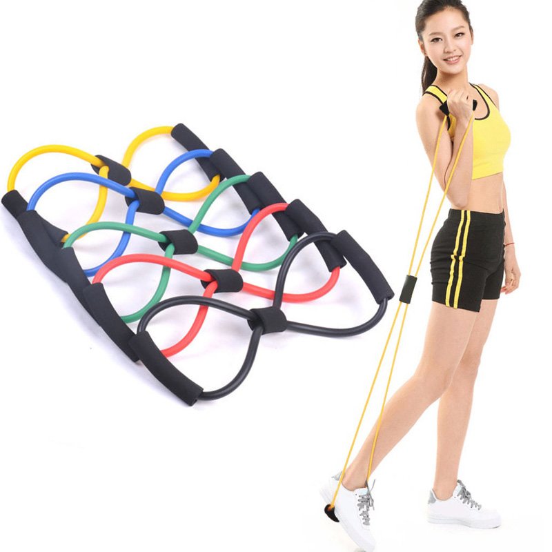 Resistance Bands 8 Shaped font b Fitness b font Elastic Rubber Loops Latex Pull Rope Sports