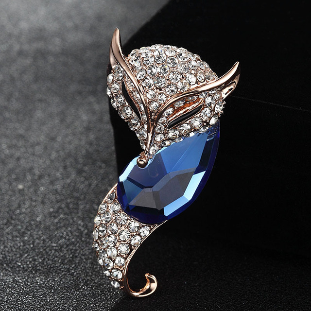 4db44890a Perfect Blue Rhinestone Fox Animal Brooch For Men Jewelry Statement Women's  Gold-color Wedding Brooches Bouquet Men's Broches