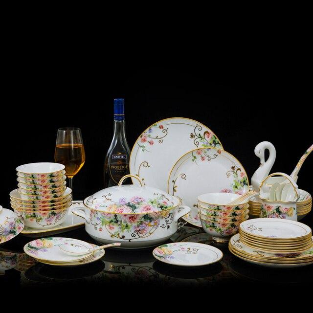 Jingdezhen-vaisselle de noël en porcelaine   Céramique Phnom Penh peinte à la main, 60 pièces, décorations de noël pour maison