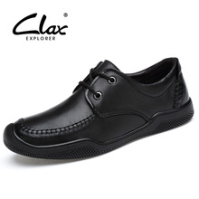 CLAX Mens Leather Shoes Genuine Leather Derby Shoe Male Spring Autumn Black Walking Footwear Designer Casual Shoe Soft Boat Shoe цена