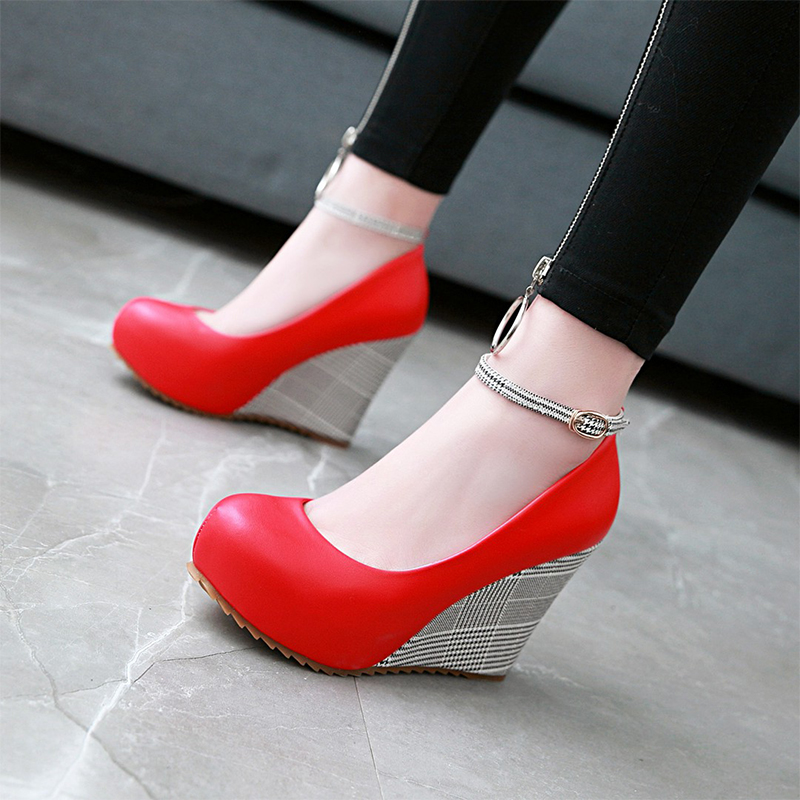 Plus Size 34-43 Spring Summer 2018 New Ankle Strap Women Pumps Shoes Woman Fashion Gingham Platform High Heels Party Wedge Shoes plus size 34 43 new platform flat shoes woman spring summer sweet casual women flats bowtie ladies party wedding shoes