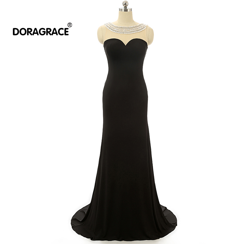 Doragrace Real Photo Sexy Backless Beaded Evening Dress Black Mermaid Gowns Party Dresses