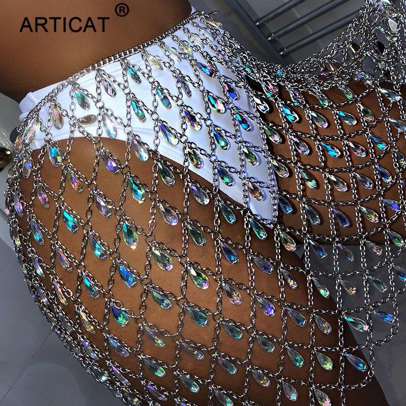 Articat Metal Glitter Crystal Diamonds Skirt Women High Waist Hollow Out Sequin Bodycon Mini Skirt Nightclub Party Skirt Outfits